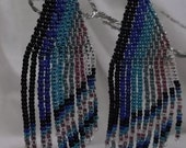 "Native American style Brick Stitch Earrings, Beautiful Multicolored using 15/0 Miyuki Seed Beads  2 1/2"" long by 1"" wide"