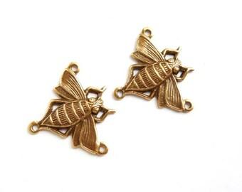 2 Antique Brass Bee Connectors - 2-IN-3