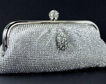 Bridal Clutch - Vintage Bridal Clutch - Silver Rhinestone Evening Bag w/ Swarovski Crystal Accent - Wedding Purse - Rhinestone Purse