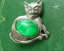 1930s Jelly belly sterling CAT Brooch Silver Vintage Solid Kitty 5.1 Grams Whimsical lapel Pin Women's Jewellery