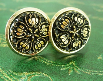 Vintage Czech Black Glass Cufflinks Victorian Design tuxedo Ornate Wedding jewelry groom accessory gold  Business suit tuxedo attire