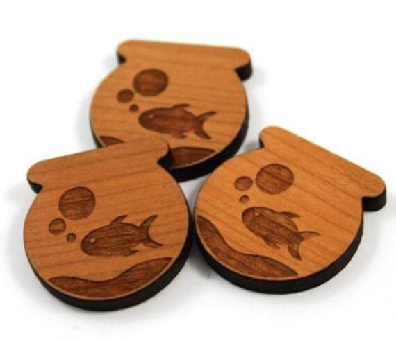 Laser Cut Supplies-8 Pieces. Goldfish Charms-Laser Cut Wood Fish Bowl Shape-Jewelry Supplies-Little Laser Lab.Online Laser Cutting Australia
