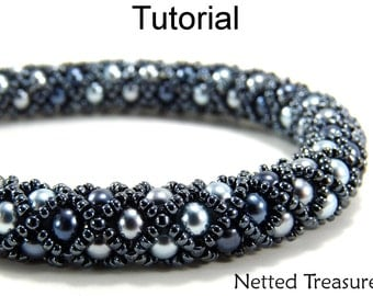 Beading Pattern Tutorial Bracelet Necklace - Tubular Netted Stitch - Simple Bead Patterns - Netted Treasure #459