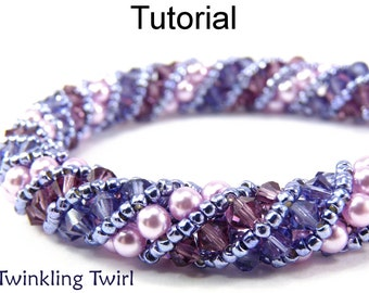 Beading Tutorial Pattern Bracelet Necklace - Russian Spiral Stitch - Simple Bead Patterns - Twinkling Twirl #476