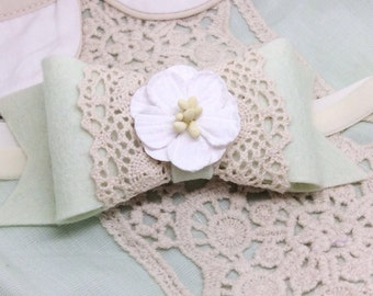 Made to Match M2M Well Dressed Wolf Mint Helen, Felt Bow with Cluny Lace Accents, Headband or Clip
