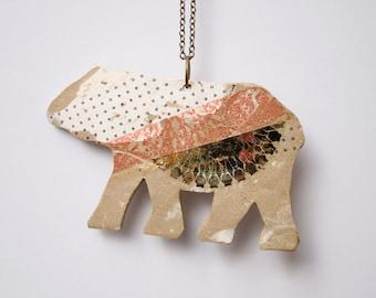 Woodland Bear Stoneware. Grizzly Bear Jewelry. Handmade Jewelry.