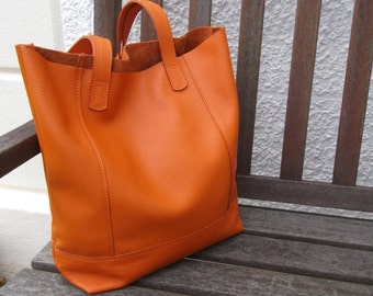 Orange Hand Made Leather Shopper/Tote/Casual Bag