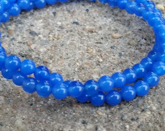 """1- 16"""" Strand of Royal Blue Agate Smooth Round 4mm (92 Beads)"""