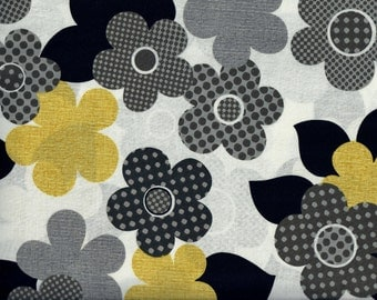 Anapola Floral fabric - white with black gray yellow flowers - Red Rooster - by the YARD