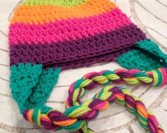 Rainbow striped crochet hat, lime, orange, pink, purple and teal, 6-12 month size with ear flaps and twisted braids