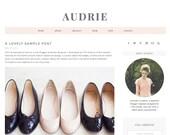 "Blogger Template Premade Blog Design - ""Audrie"" Blogger Theme Black and White"