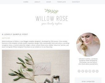 "Blogger Template Premade Blog Design - ""Willow"" Blogger Theme Green, Grey, Rustic, Flowers"
