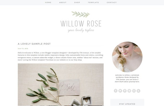 """Blogger Template Premade Blog Design - """"Willow"""" Blogger Theme Green, Grey, Rustic, Flowers"""
