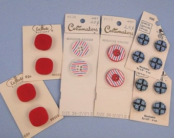 Vintage Red White Blue Buttons Assorted Cards LaMode Costumakers