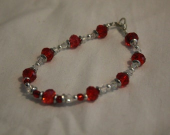 Red and Crystal Sworovski Bracelet