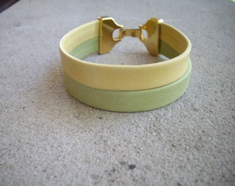 Double Strand 10mm Flat Arizona Pale Yellow and Pale Mint Green Leather Bracelet with Gold Clasp