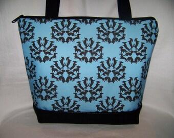 """Unique Blue """"Doxie Damask"""" Dachshund - Wiener Dog - Handbag-Purse-Bag"""