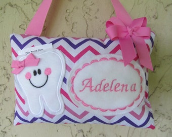 Tooth Fairy Pillow Pink and Purple Chevron Personalized