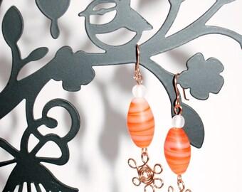 Copper Wire Earrings, Beaded Earrings, Floral Earrings