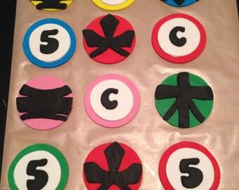 Power Ranger Inspired Fondant Cupcake Toppers - 6
