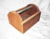 Small wood tool box, tool carrier, metal handle, storage bin, rustic primitive decor
