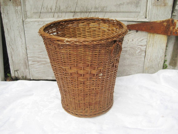 Wicker Wastebasket With Lid Small : Vintage wicker waste can trash small woven