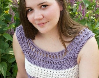 Crochet Pattern for Tank Top,  X Stitch, PDF 15-195 INSTANT DOWNLOAD
