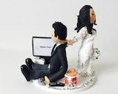 Bride dragging the groom - Video game crazy - Custom made bride and groom wedding cake topper