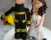 Firefighter and Hairstylist wedding cake topper- Custom made bride and groom wedding cake topper