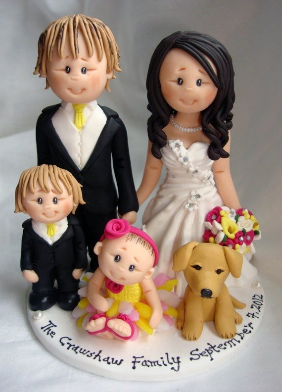 wedding cake toppers with children for and groom with and pet wedding 26629