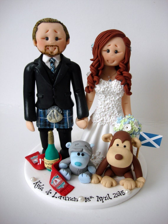 wedding cake toppers funny kilt scottish groom in tartan kilt wedding cake topper by 26474