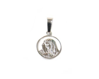 Virgin Mary Pendant, Sterling Silver, 11mm - 1 piece