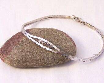 Vintage Sterling Silver 3 Stone Bracelet , Silver Chain Bracelet, Sterling Silver Flat Chain