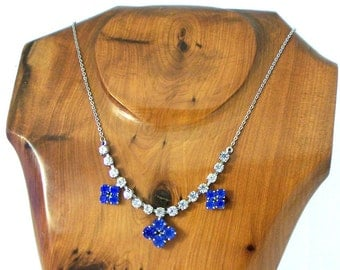 Vintage 1950s Clear and Blue Rhinestone Necklace, Articulated Necklace,Silvertone Necklace, Claw Set Necklace