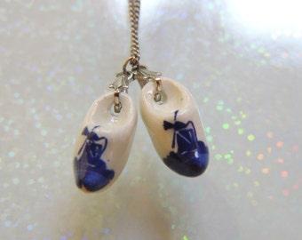 Delft Porcelain Painted Shoes Necklace