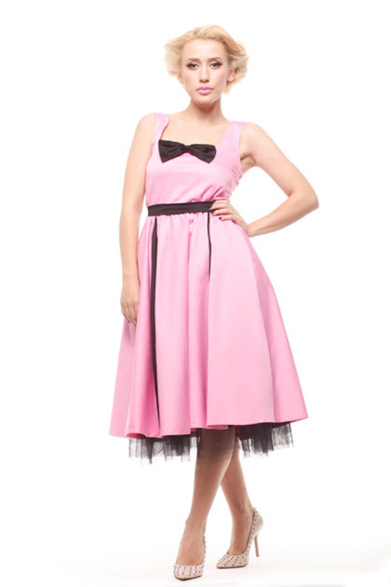 Pink and Black Pin Up dress, Pink bridesmaid dress, Rockabilly dress, 50s dress, Bridesmaid dress, Prom dress