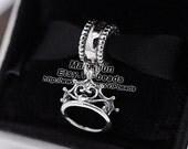 New 100% 925 Sterling Silver Screw Ariel's Tiara Charm Pendant Dangle Charm Beads Fit European Style Jewelry Bracelets DS029