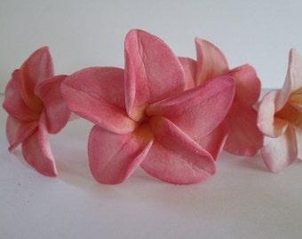 Plumeria Frangipani tropical cake topper sugar flower gum paste