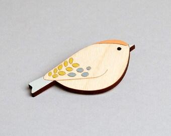 Wooden Bird Brooch - Goldcrest