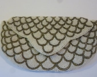 Vintage Beaded Handbag Bride's Clutch Made in W. Germany Made by Walborg Scallop Pattern Gray Bugle Beads 1950's