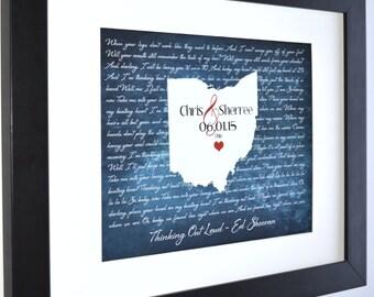 Custom map unique wedding wall art print columbus ohio map anniversary gift ideas valentines gift wedding present song lyrics gift for wife