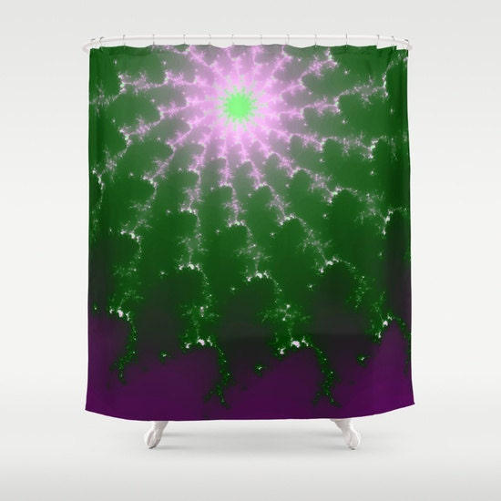 Shower Curtain Purple And Green Starburst 71 X 74 By Jdlord