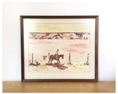 Framed Vintage Cowboy Watercolor Painting/Print
