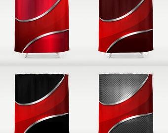 red shower curtain art curtain metallic pattern red abstract curtain geometric pattern curtain geometric curtain 60x72