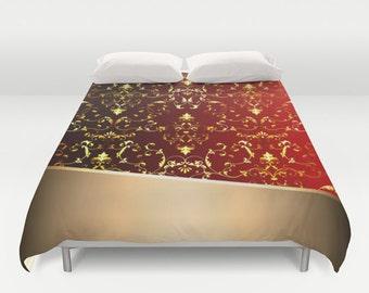 Red Modern Duvet Cover Technology Duvet Metallic Duvet Cover King Size Bed cover King Duvet Queen Size Red Duvet Pattern Duvet Cover 88x88