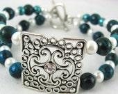 Bracelet Handmade Beaded Bangle Maltese Cross Teal Quartzite Gemstone