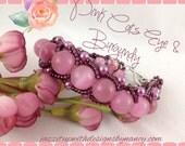 Beaded Bracelet Pink Cats Eye Gemstone Burgundy Seed Beads Flat Spiral Bangle