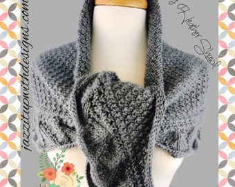 Shoulder Shawl Scarf Ladies Handknit Gray Heather Caron Simply Soft
