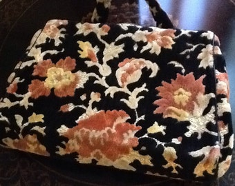 1950s Chenille BROCADE Carpet Handbag Purse - Rose Tapestry - Gorgeous!