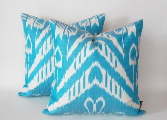 Turquoise Decorative Pillow Set : Set of 2 / Turquoise White ?kat Decorative Pillow Cover Silk